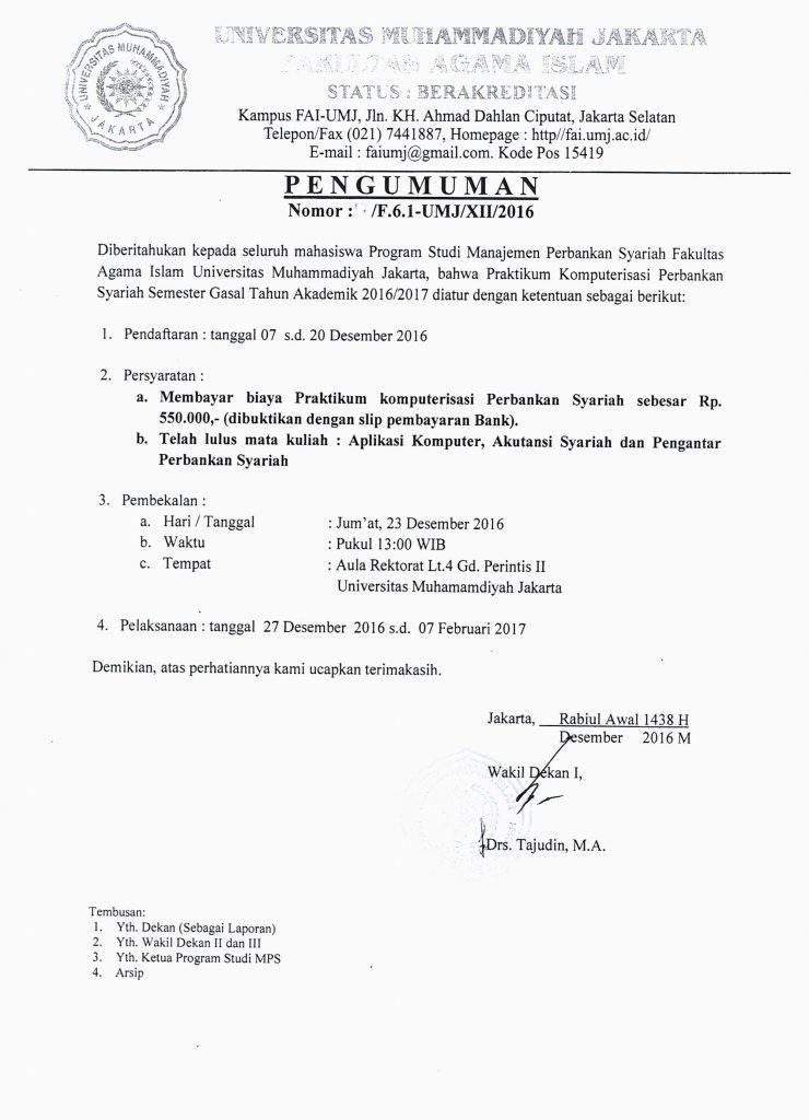 Pengumuman Praktikum Komputerisasi Perbankan Syariah Semester Gasal Tahun Akademik 2016/2017.